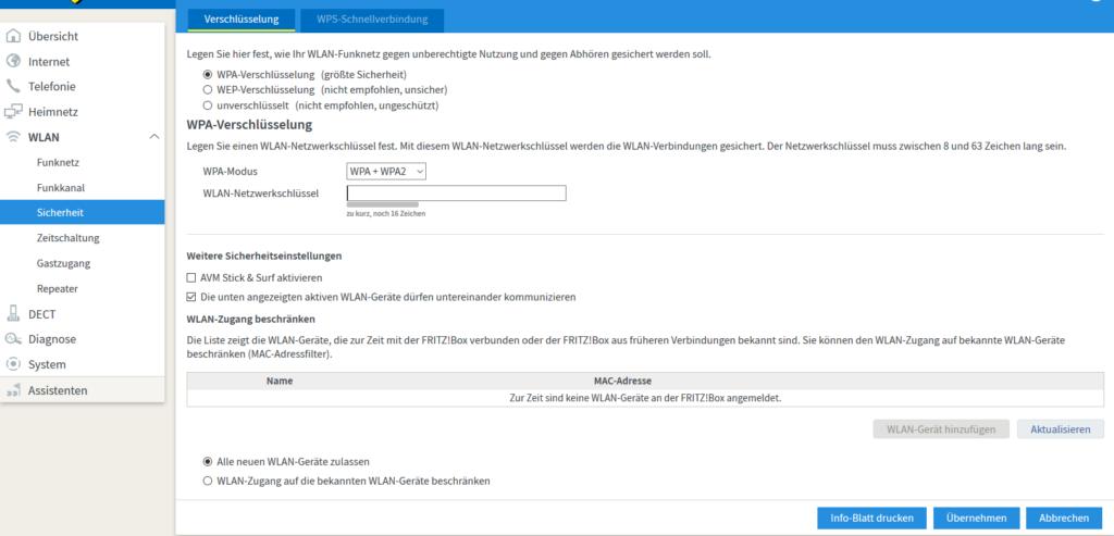 Screenshot WPA Verschlüsselung