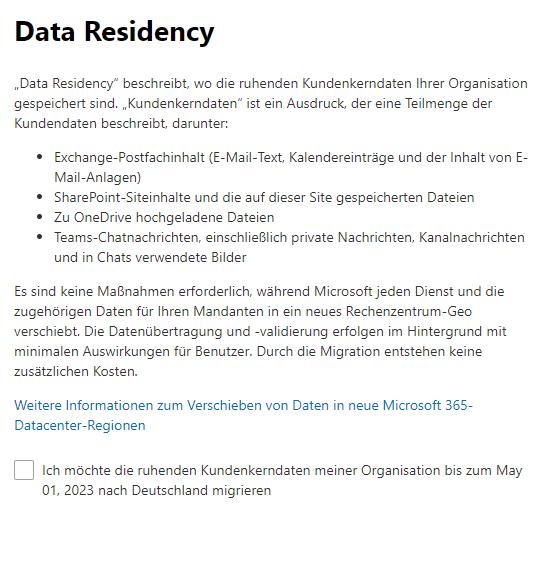 Data Residency bearbeiten